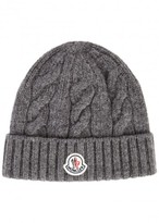 Moncler Grey Cable-knit Wool Beanie