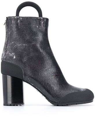 Random Identities Cracked Leather Ankle Boots