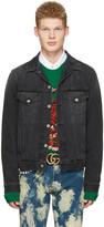 Gucci Black Denim laveugle Par Amour Jacket