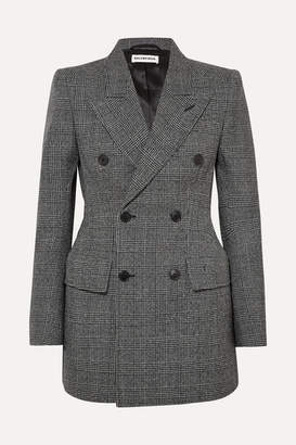 Balenciaga Hourglass Prince Of Wales Checked Wool Blazer - Gray