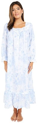 Eileen West Cotton Lawn Woven Long Sleeve Ballet Nightgown (White Ground Blue Rose Floral) Women's Pajama
