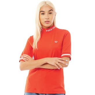 Fred Perry Womens High Neck T-Shirt Fiery Red