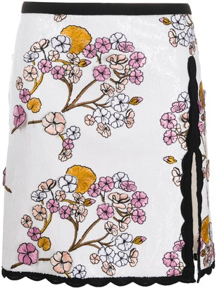 Giambattista Valli Floral Embroidered Slit Mini Skirt