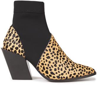 Rodebjer Kari Leopard-print Calf Hair And Neoprene Ankle Boots