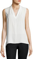 T Tahari Lace-Trimmed Sleeveless Blouse, White
