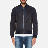 Versace Men's Patterned Zipped Blouson Jacket Blu-Nero