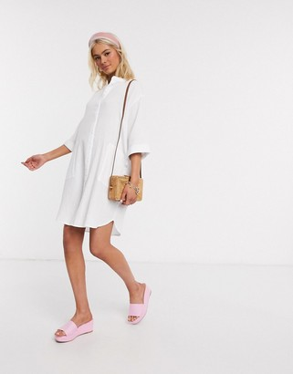 JDY oversized textured shirt dress in white