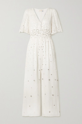 Temperley London Ruth Embellished Crepe De Chine Jumpsuit - Ivory