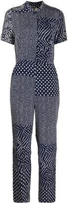 Dvf Diane Von Furstenberg Silk Short Sleeve Jumpsuit