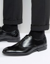 Asos Brogue Shoes In Black Leather