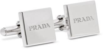 Prada Logo-Engraved Sterling Silver Cufflinks