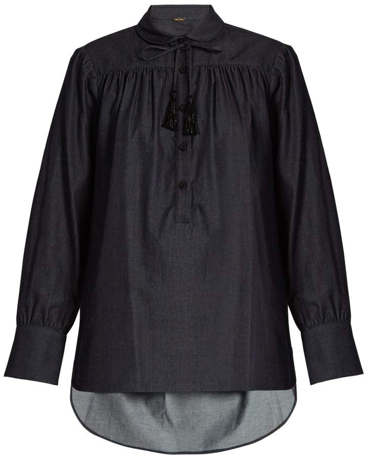 ADAM by Adam Lippes Blouson-sleeved denim blouse
