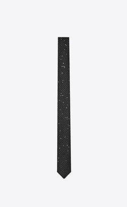 Saint Laurent Narrow Tie In Lame Silk Jacquard With Embroidered Sequins Black Onesize