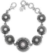Lucky Brand Silver-Tone Imitation Pearl Star Disc Link Bracelet