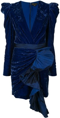 ZUHAIR MURAD Ruffle Velvet Mini Dress