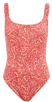 Fisch Select Ruched-strap Seahorse-print Swimsuit - Pink Print