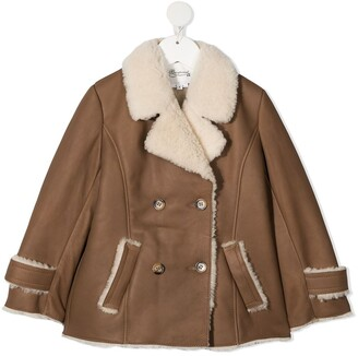 Bonpoint Shearling-Trimmed Double-Breasted Coat