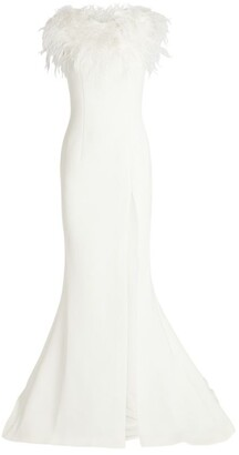 Jovani Feather-Trim Off-The-Shoulder Gown
