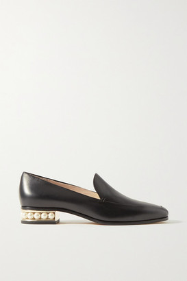 Nicholas Kirkwood Casati Faux Pearl-embellished Leather Loafers - Black