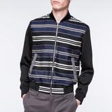Paul Smith Men's Navy Cotton-Silk Blend Stripe Bomber Jacket