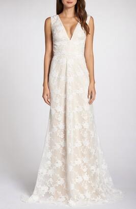 Tadashi Shoji Grid & Floral Lace A-Line Wedding Dress