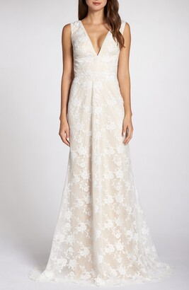 Tadashi Shoji V-Neck Lace Wedding Dress