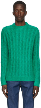 MSGM Green Mohair Crewneck Sweater
