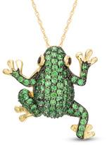 Zales Tsavorite and Garnet Frog Pendant in 10K Gold
