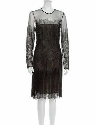 Naeem Khan Silk Knee-Length Dress Black