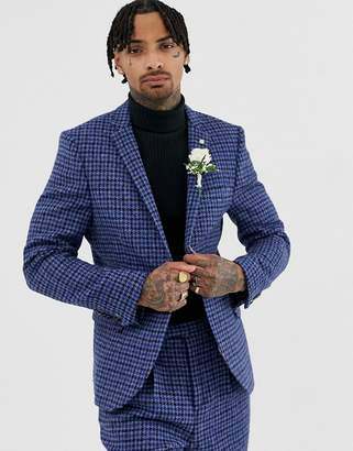 Twisted Tailor super skinny Harris tweed suit jacket-Blue