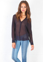 Rory Beca Cleave Long Sleeve Collared Bouse with Front Pleat in Almost Black