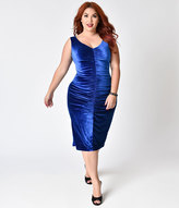 Bettie Page Plus Size Blue Velvet After Hours Ruched Wiggle Dress