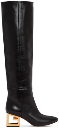 Givenchy 60mm Leather Boots W/Triangle Logo Heel