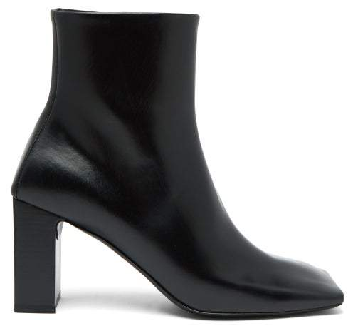 Balenciaga Double Square Block Heel Leather Boots - Womens - Black