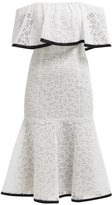 Carolina Herrera Off-the-shoulder Flared-hem Lace Midi Dress - Womens - White Black