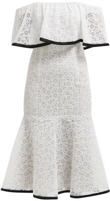 Carolina Herrera Off-the-shoulder Flared-hem Lace Midi Dress - White Black