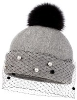 Helene Berman Women's Genuine Fox Fur Pompom Hat - Grey