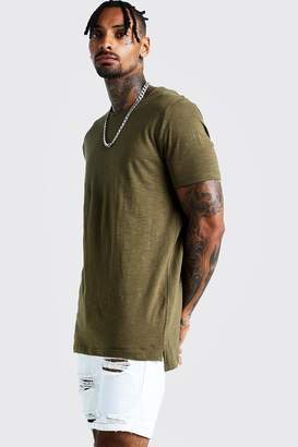 BoohoomanBoohooMAN Mens Green Slub T-Shirt With Step Hem, Green