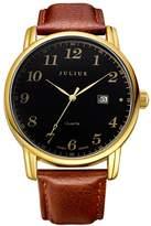 Julius JA-508MB Men's Easy Reader Arabic Numbers Quartz Analog Brown Leather Calendar Watch
