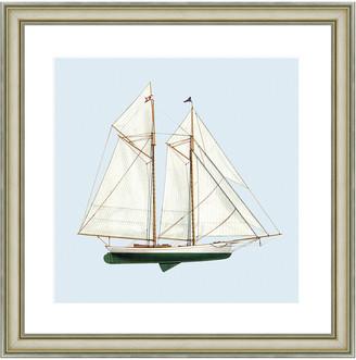 Vintage Print Gallery Nautical Motifs Sailing Ship Framed Print