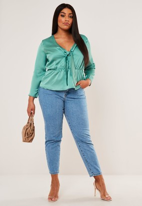 Missguided Plus Size Green Satin Peplum Tie Blouse
