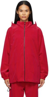 we11done Pink High-Neck Logo Zip Jacket