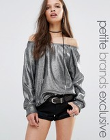 Glamorous Petite Off The Shoulder Sweater In Metallic Knit