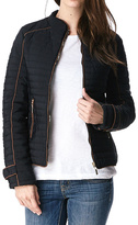 Black Contrast-Trim Zip-Up Puffer Coat