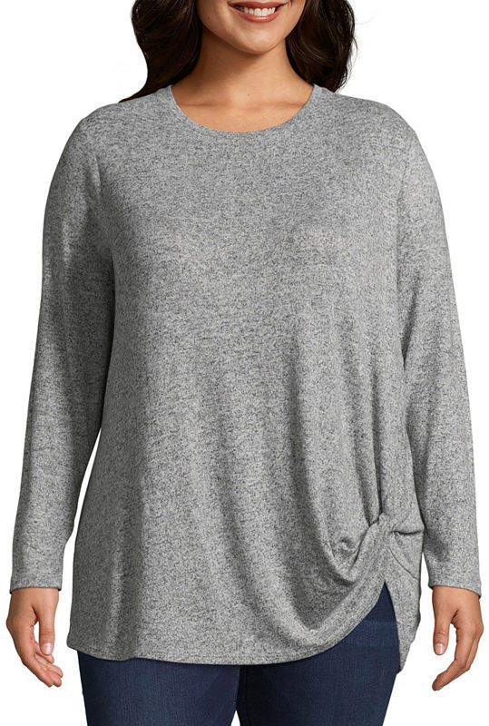 + + Brushed Knit Long Sleeve Side-Knot Top - Plus