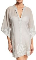 Flora Bella Primland Embroidered Short Caftan Coverup, Dove Gray