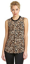 Vince Camuto Leopard-Print Pleated Blouse