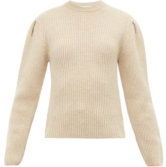 Lemaire Pleated Sleeve Ribbed Wool Sweater - Womens - Cream