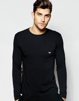 Emporio Armani Logo Regular Fit Long Sleeve Top - Black