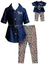 Dollie & Me Girls 4-14 Denim Dress & Printed Leggings Set